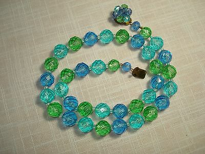 Vintage Glass Faceted Beads Blue Aqua Green Western Germany