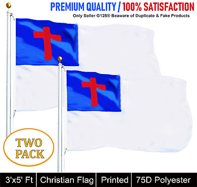 G128® TWO PACK of Christian Religious Flag Polyester 3x5 ft Indoor and Outdoor