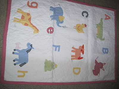 Pottery Barn Kids Quilt Crib Size Alphabet Soup Letters Animals
