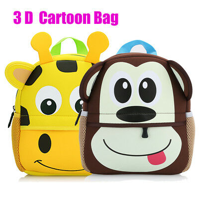 Kids Backpack School Bag 3D Cartoon Animal Children Boy Girl Toddler Rucksack
