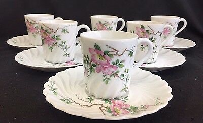 Theodore Haviland Limoges France Set Of 6 Demitasse Flower Swirl Cup Saucer