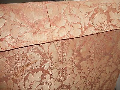 Pair of Knole Sofas, vintage shabby-chic covered in terracotta damask