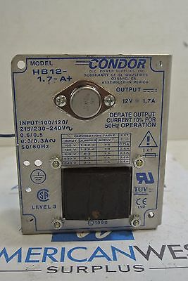 Condor DC Power Supply HB12-1.7-A+    12V 1.7A  USED HB12-1.7