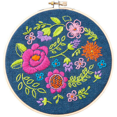 """Bucilla 46228 Floral Explosion Stamped Embroidery Kit-6"""" Round"""