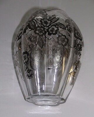 "Elegant Fostoria Clear Glass Vase with Silver Overlay Floral Design 8.5"" High"
