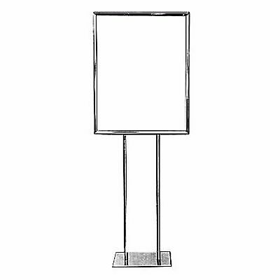 "Lot of 7 Econoco BH28 28"" x 22"" Bulletin Sign Holder, Flat Base, Chrome"
