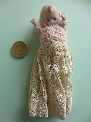 Vintage Dolls House Bisque Doll, Cute with Jointed Arms #3
