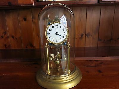 VINTAGE GERMAN 400 DAY ANNIVERSARY CLOCK No 117837 WITH PENDULUM FOR RESTORATION