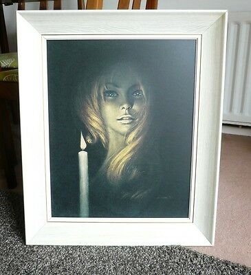 Vintage 1960s framed print picture Stephen Pearson Girl by Candlelight