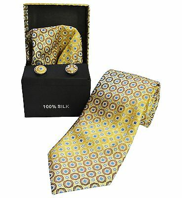 Berlioni Italy Men's Necktie Set-Box Matching Pocket Square And Cuff Links 2068