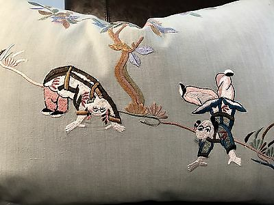 Beacon Hill Embroidered Chinoiserie Cotton In Seaglass; Scalamandre Back Pillow