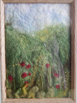 OOAK Handmade Artist Embroidered Felt Work Picture Poppy Field Landscape, Framed