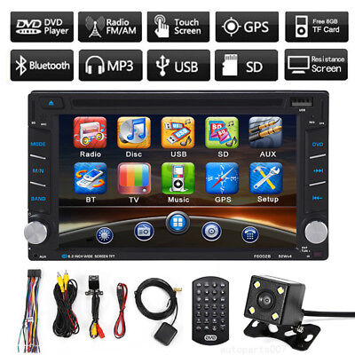 """HD 6.2"""" 2 DIN GPS Navigation Car Stereo DVD Player Bluetooth With Backup Camera"""