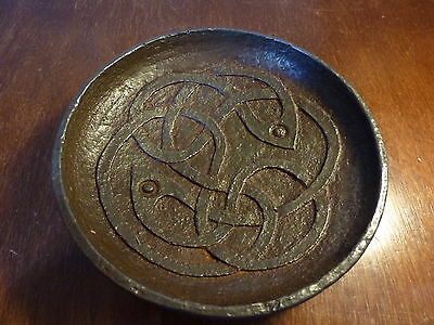 Antique Iron And Bog Oak Alms Dish With A Celtic / Christian Design
