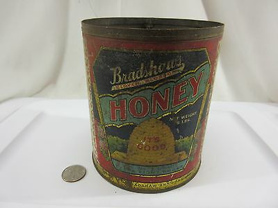 Vintage Bradshaw's Pure Blossom Honey 5 Lb Can / Tin Extra Light Amber