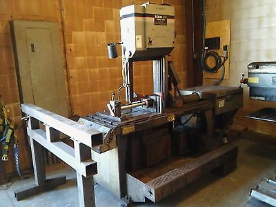 HE&M Vertical Industrial Band Saw V100LM-2 w/ coolant system 1.25 x 14.3 x .042