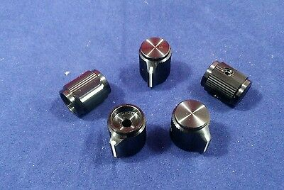 "5 Alco Knob KPN-500B  1/8"" shaft  Black Aluminum Knobs Made in Japan Switchknod"