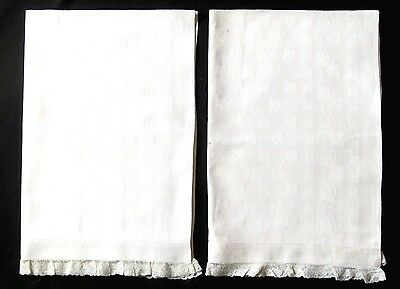 Set of 2 Antique Damask Hand Towels w/Lace Trim - EXC