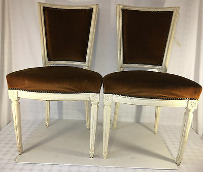 Antique Pair Of Victorian Style Velvet Armless Chair Chairs Wooden Wood White