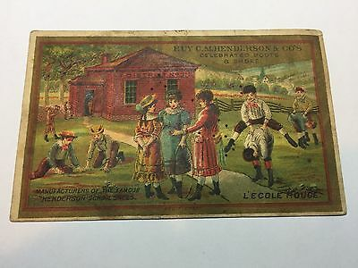 Tallula, IL, F. G. Cox, Hendesons Red School House Shoes Trade Card