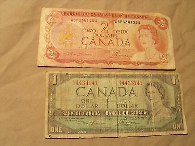1974 Canada $2 Banknote + 1954 1$ Note