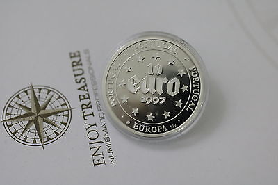Portugal 10 Euro 1997 Proof Crown Size Pure Silver A63 Zm44