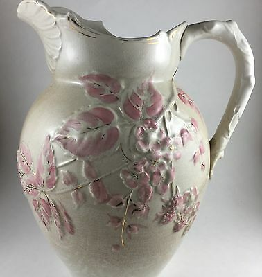 Large Cream & Pink Vintage IRONSTONE PITCHER in very good vintage condition. 11""