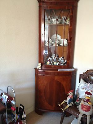 Yew Repro Bow Front Inlaid Corner Glazed Display Cabinet- Immaculate