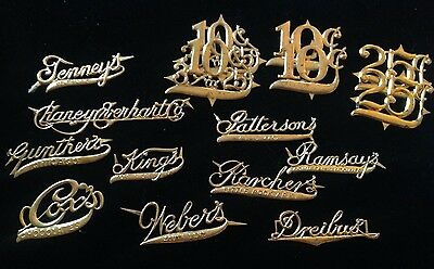 Vintage Lot of 16 Metal Candy Box Labels Lot#1