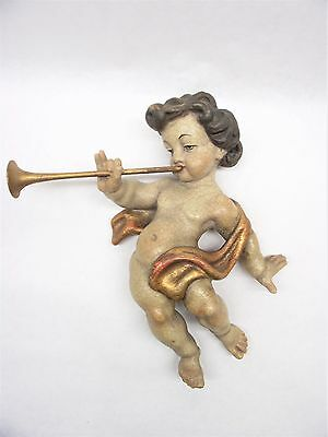 Vtg Antq Hand Carved Putti Cherub Playing Trumpet Wall Art Made Austria Free S/H