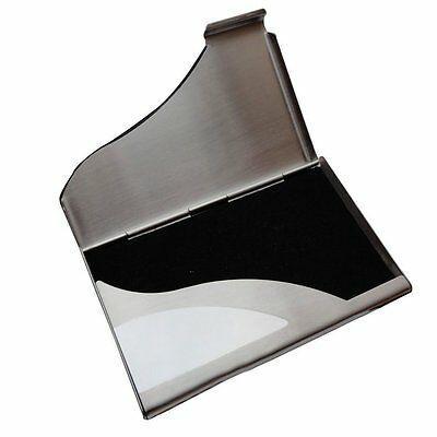 Professional Leather & Stainless Steel Business Card Holder Card Wallet Case NEW