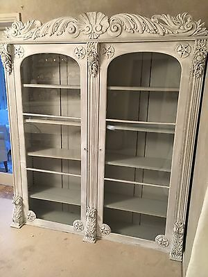 Very Large Antique Bookcase Display Cabinet