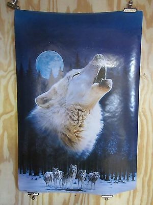 Wolf Howling with Full Moon Wolves Pack Poster PC1162 Wolf Call