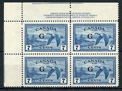 Weeda Canada CO2 VF mint NH UL plate 1 block, Rare G official overprint CV $200