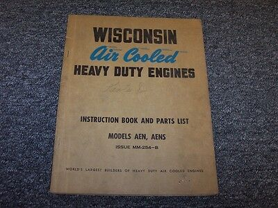 Wisconsin AEN AENS Air Cooled Heavy Duty Engine Parts Catalog Instruction Manual