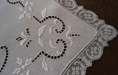Vintage Linen Table Runner Point Venise Needle Lace Embroidery Cutwork Filet Edg