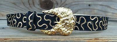 Two Blondes NY Vintage 70's 80's Nugget Belt Womens S Black & Gold Leather MINT!