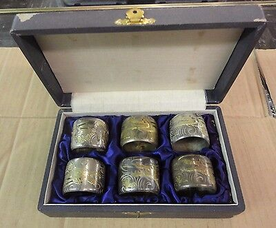 6 Sterling Chinese Dragon Motif Napkin Ring Holders 141.8 Grams Silver/Gold
