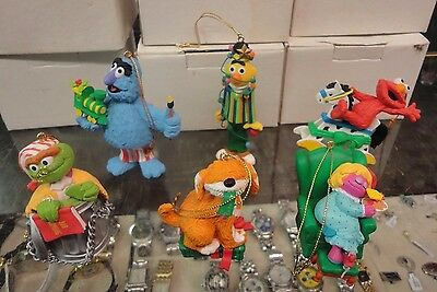 Lot of 6 Jim Henson Sesame Street Ornaments with the Box Elmo Oscar Bert Barkley