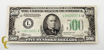 Series of 1934 A $500 US Federal Reserve Note San Francisco, CA (VF Condition)