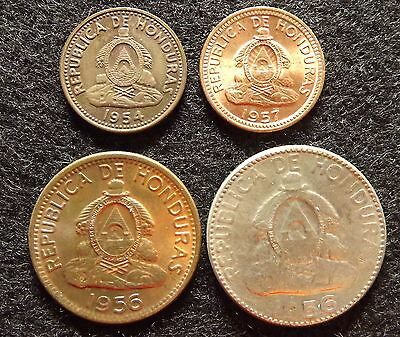 Honduras 1 Cent.1954,1957, 2 & 5 Cent. 1956 - Lot of 4 Vintage Coins  (#749)