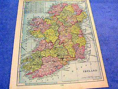 Antique Map Of Ireland W/ Billymoney Filshery   Nicely Colored   1899  Look