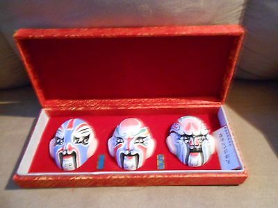 Set of 3 Chinese Hand Painted Face Masks in Decorative Box