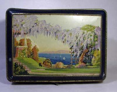 Vintage Art Deco Wisteria Biscuit TIN - Hinged with Catch - Yachts Ships