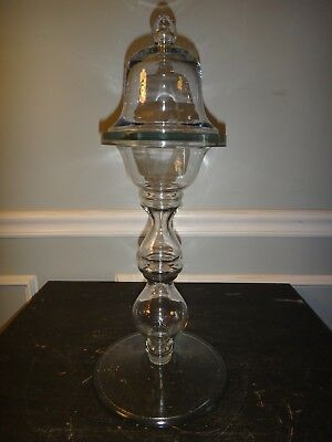 Unusual Cloche Dome Display Free Blown Glass Bell on Pedestal Clock Dome Globe