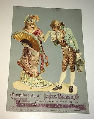 Rare Antique Victorian Advertising Lautz Bros Acme Soap Die-Cut Trade Card! NY!