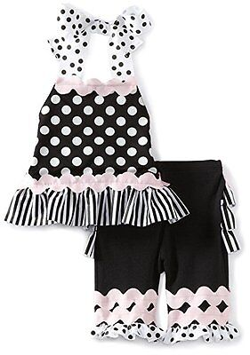 Mud Pie Perfectly Princess Ruffle Pants Outfit Size 0 3 6 Months Baby Girls Euc