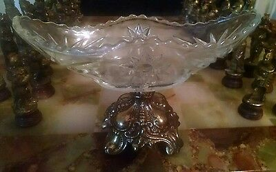 Vintage Candy Dish On Metal Base Pedestal Glass Nut Bowl Compote Marked aac.ao