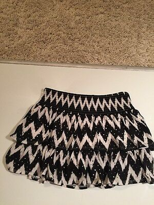 Justice Skorts Skirt Shorts Size 16 Sparkly Black And White