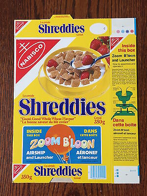 1981 Zoom B'loon Offer Vintage Shreddies Cereal Box Never Used RARE FLAT